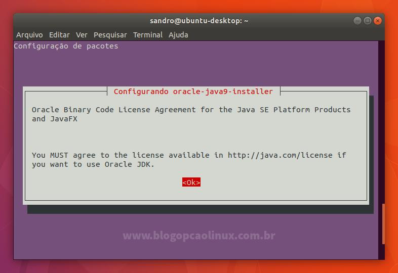 Acordo de Licença do Oracle Java 9