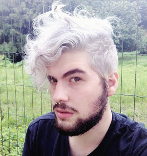 Silver Grey Curly Hairstyle for Men
