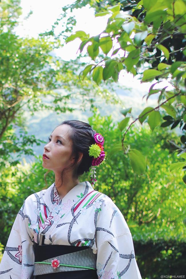 日本人ファッションブロガー,Mizuho K,今日のコーデ,鎌倉レンタル浴衣、大人可愛いコーデ 鎌倉花火大会、杉本寺