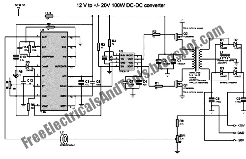 Free Schematic Diagram: Automotive 12V to +-20V Converter
