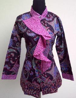Model Baju Batik Kantor Wanita Berjilbab desain terbaru