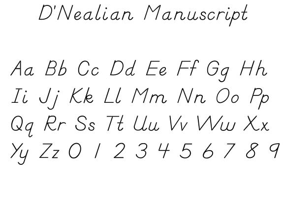 Eastern Elementary School uses D'Nealian Handwriting