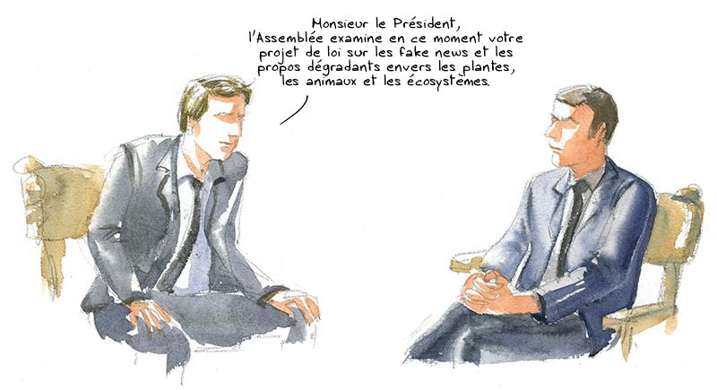 Macron, loi sur les fake news et service écologique