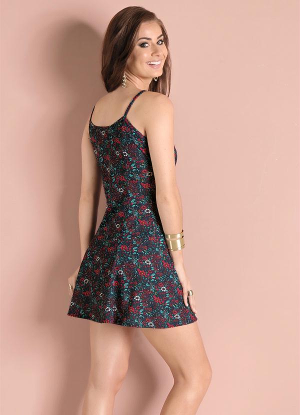 Vestido floral Dark com saia Evasê