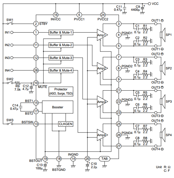 4x38 Watt Audio Amplifier Circuit Diagram