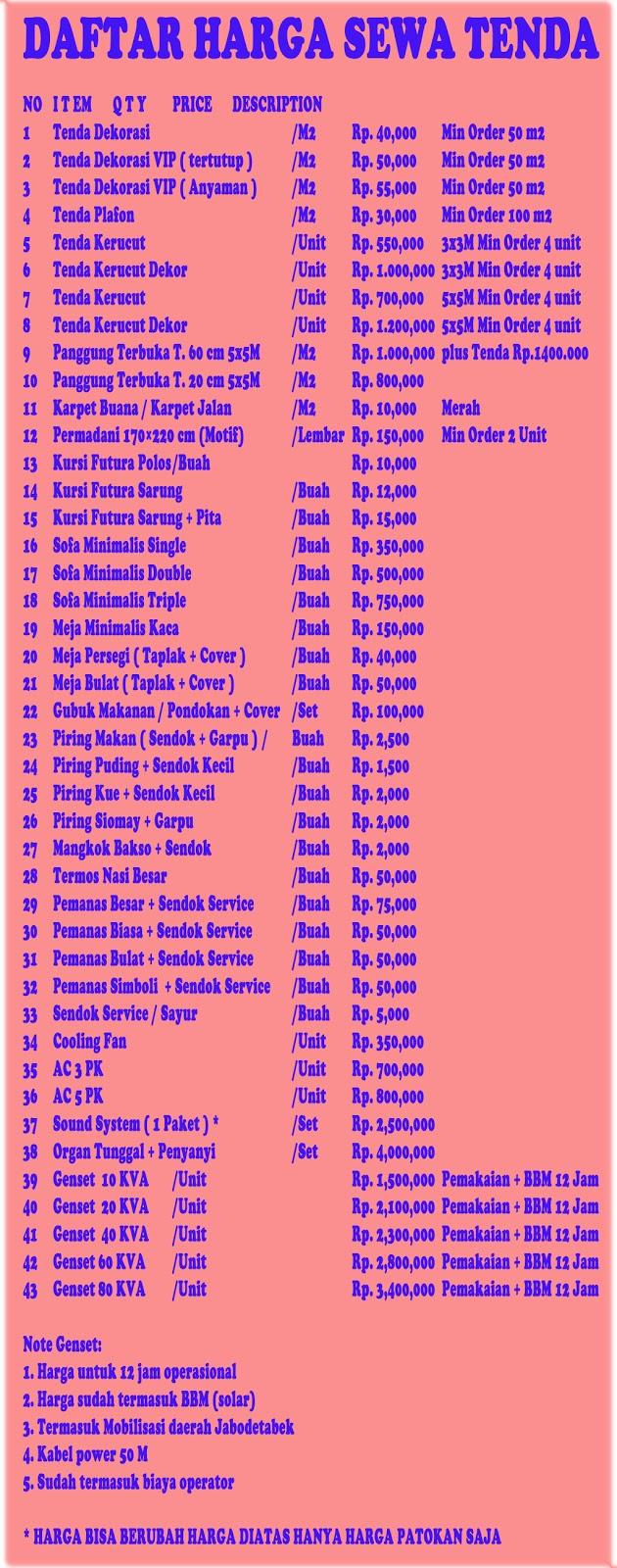 Harga Sewa Tenda di Malang 0822.1129.4097 TERLENGKAP