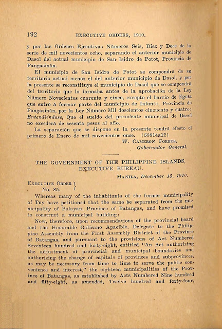 Executive Order No. 85 s. 1910 English version.