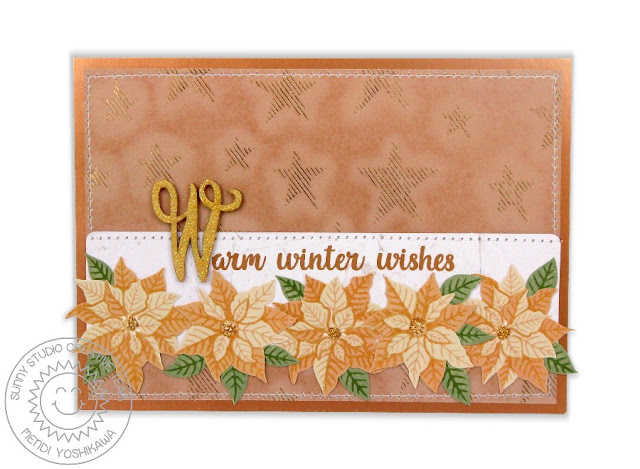 Sunny Studio Stamps: Petite Poinsettias & Heartfelt Wishes Christmas Card by Mendi Yoshikawa