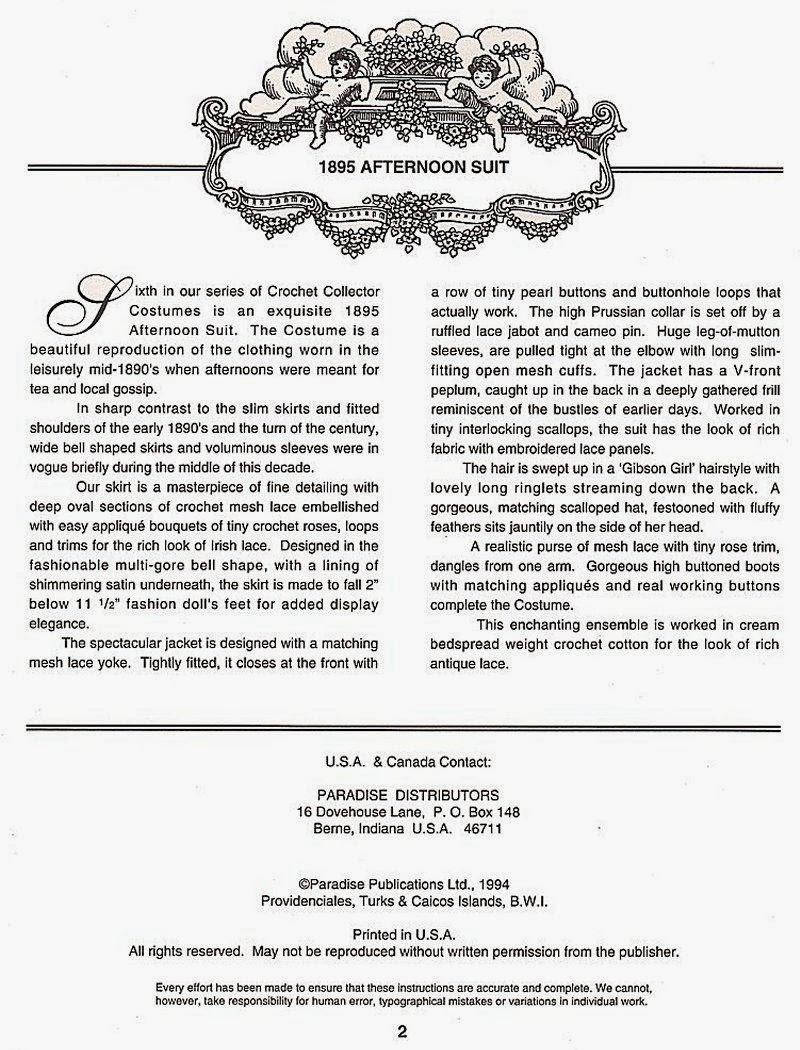 Roupa de Época de Crochê Para Barbie Receita em Inglês p2