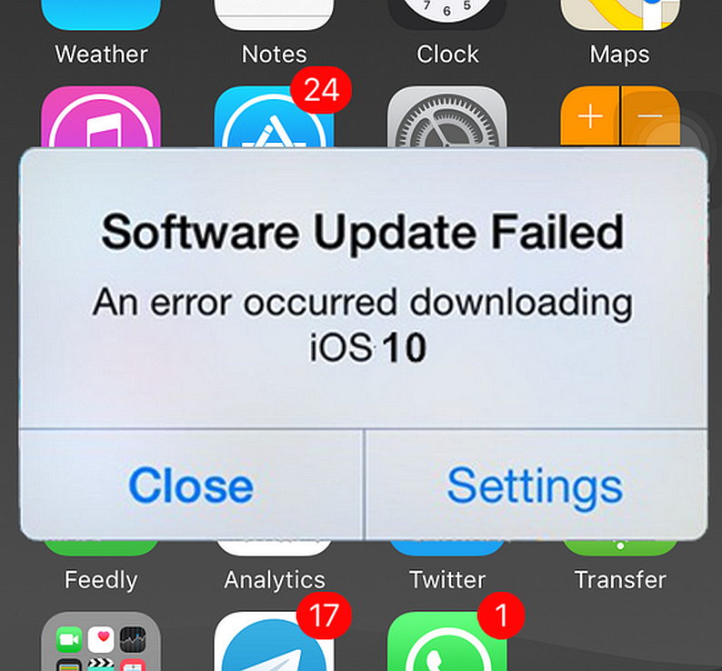 problems updating iphone