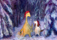 A postcard where Hulmu and Haukku dog are walking in snowy forest at Christmas night.