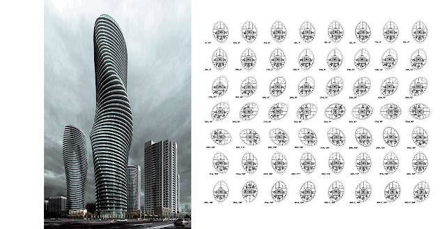 Rendering of new towers with floor plans of every floor