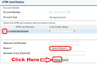 how to block atm card of sbi bank online