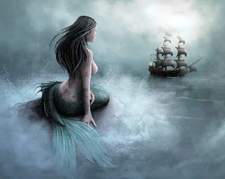 Mermaid enticing a ship at sea