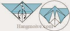 Bước 11: Mở hai lớp giấy trên cùng ra, kéo và gấp xuống dưới.