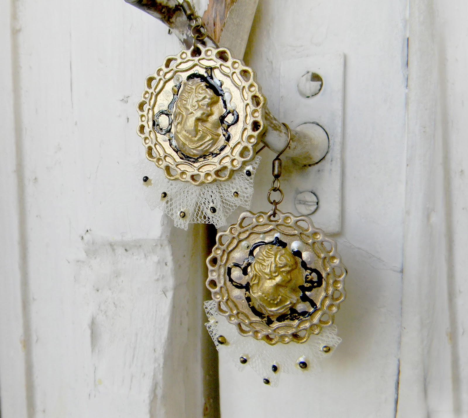 Cameo Handmade Earrings Victorian Era
