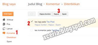Cara Menghapus Komentar Blog - Pilih