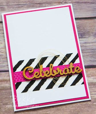 Easy Black, White Pink and Gold Celebrate Card made with Washi Tape from Stampin' Up! UK
