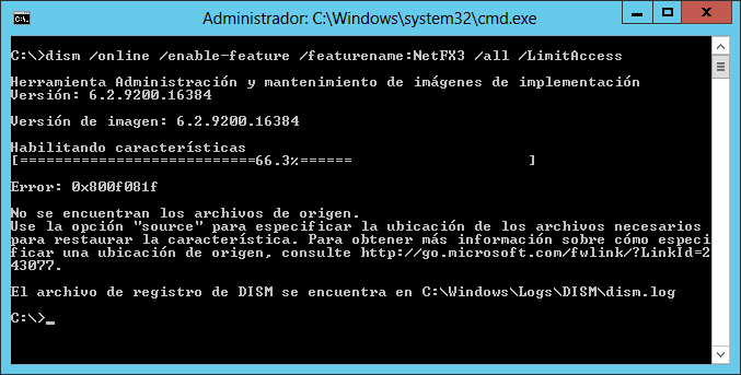 Instalar .NET 3.5 sobre Windows Server 2012 / Windows Server 2012 R2