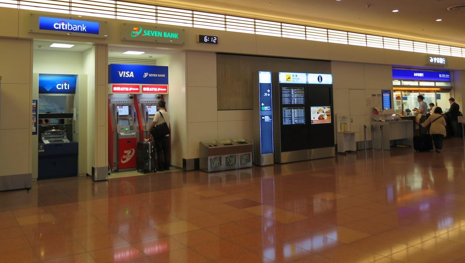 ATM cash machines, bank counters, Haneda airport. Tokyo Consult. TokyoConsult.
