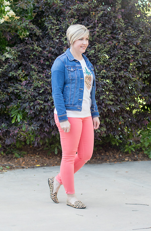 colored jeans with denim jacket