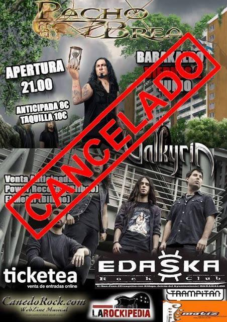 Cartel anunciando la cancelación del concierto