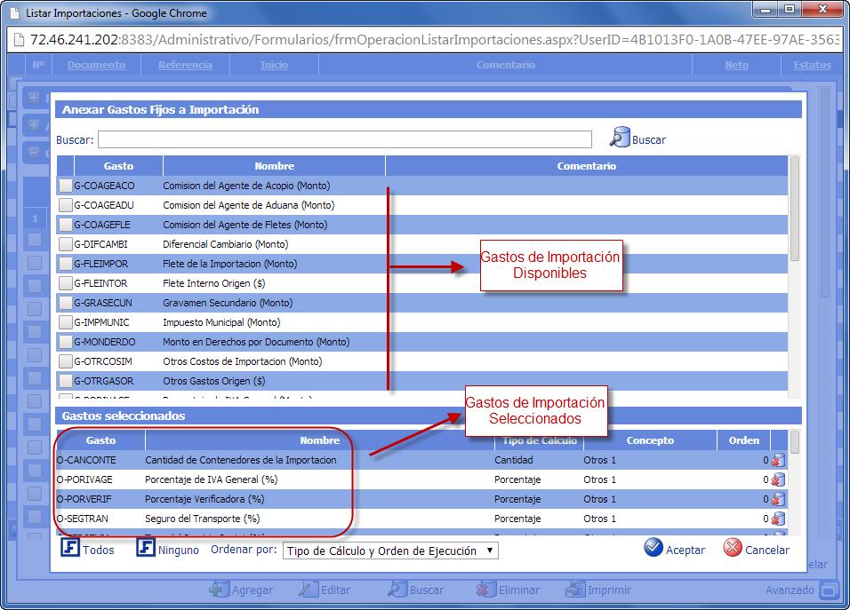 Anexar Gastos Fijos a Importación - Gastos de Importación de eFactory ERP/CRM