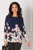 Bluza Ashley bleumarin cu imprimeu floral la baza
