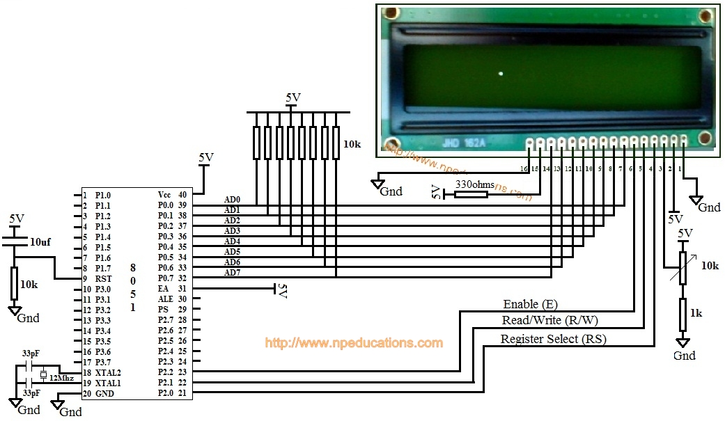 8051 based 16x2 LCD interfacing in 8-bit mode without using busy
