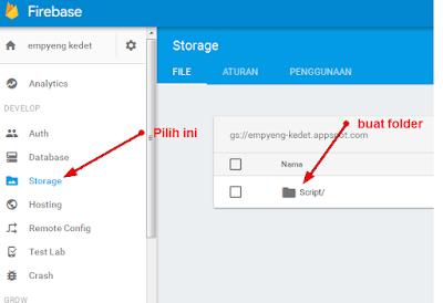 Membuat folder di proyek Firebase