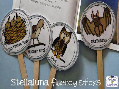 Stellaluna character sticks for practicing reading fluency with RL.6. Students choose a character then practice reading fluently in the character's imagined voice and from their point of view.