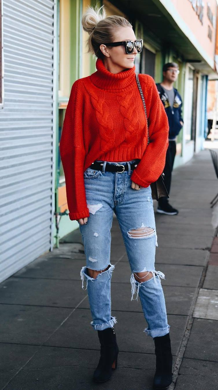 awesome fall outfit / red knit sweater + distressed jeans + boots