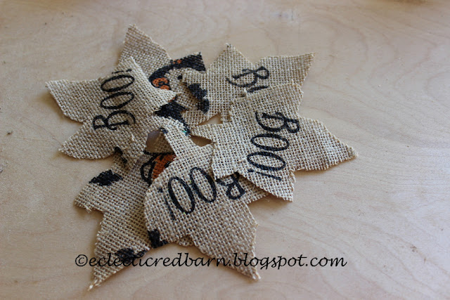 Eclectic Red Barn: Leaf letters cut from burlap fabric