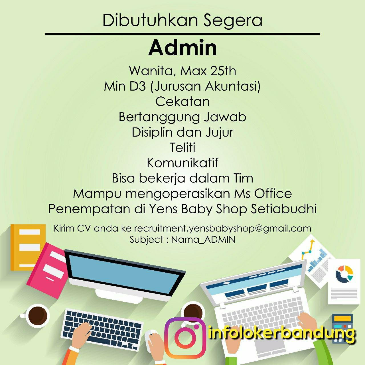 Lowongan Kerja Admin Yens Baby Shop Setiabudhi Bandung September 2017