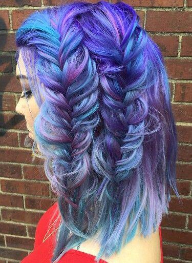 gorgeous braids in purple shades