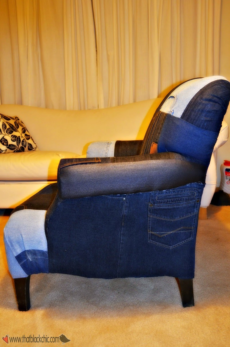 Diy Denim Patchwork Reupholstered Chair That Black Chic