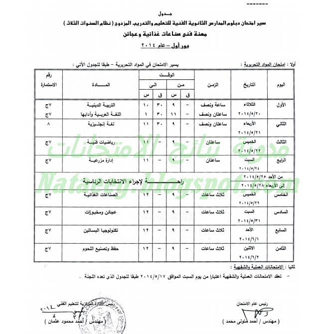 جدول امتحانات الدبلومات الزراعية لعام 2014 أخر العام - نظام الثلاث سنوات والخمس سنوات
