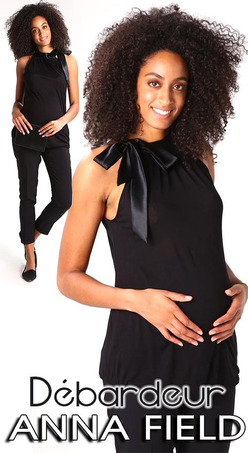 Débardeur noir chic de grossesse ANNA FIELD