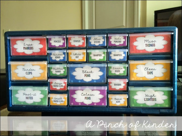 Primary polka dot teacher toolbox a pinch of kinder for Kitchen cabinets lowes with permit box stickers
