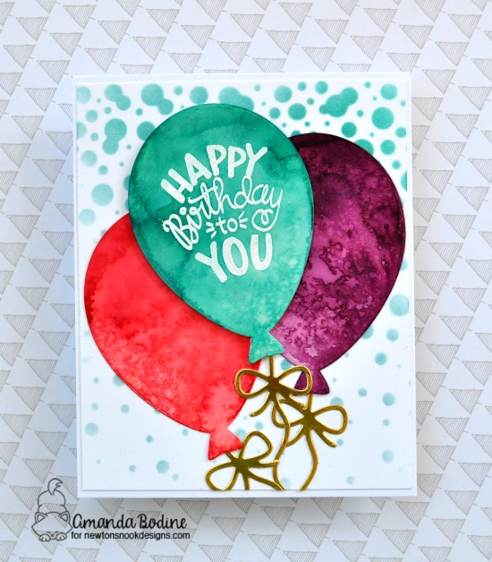 Birthday Balloon Card by Amanda Bodine | Uplifting Wishes Stamp Set, Bubbly Stencil and Balloon Shaker Die Set by Newton's Nook Designs #newtonsnook #handmade