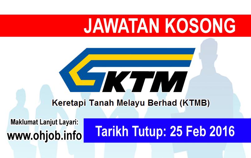 Jawatan Kerja Kosong Keretapi Tanah Melayu Berhad (KTMB) logo www.ohjob.info februari 2016