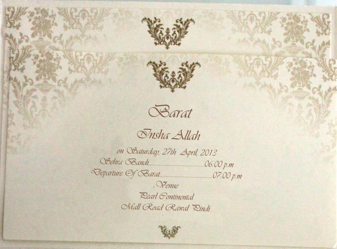 Walima Ceremony Invitation Cards