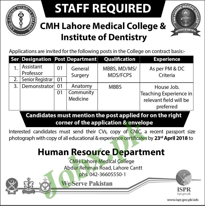 Latest New Govt Jobs in CMH Lahore Last Date 23 April 2018