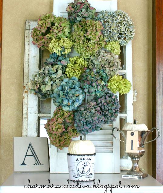 Dried hydrangea vintage shutter display