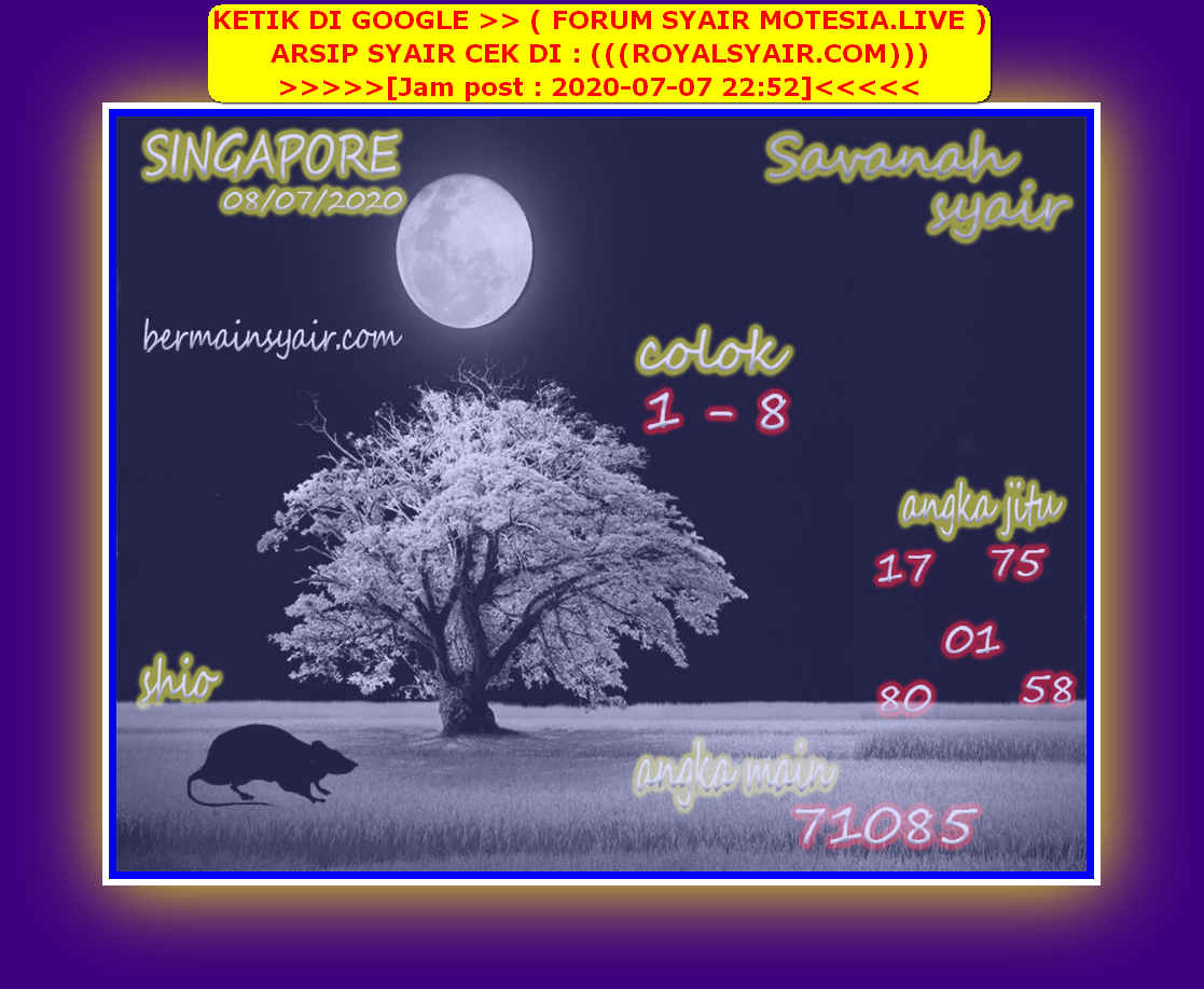 Kode syair Singapore Rabu 8 Juli 2020 254