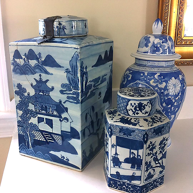 #thriftscorethursday Week 98 | Instagram user: pursuingvintage shows off this Blue and White Canisters