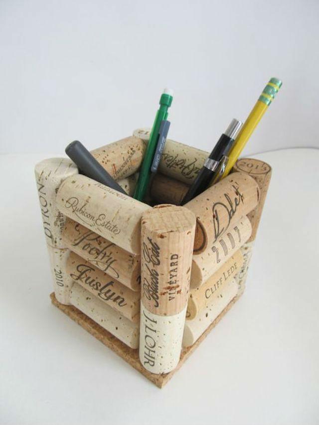 10 ideas sorprendentes para reciclar tapones de corcho, portalápices