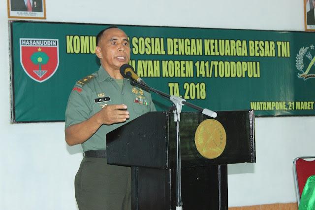 Gelar Komsos Bersama Keluarga Besar TNI se Korem 141/Tp, Ini Pesan Danrem 141/Tp