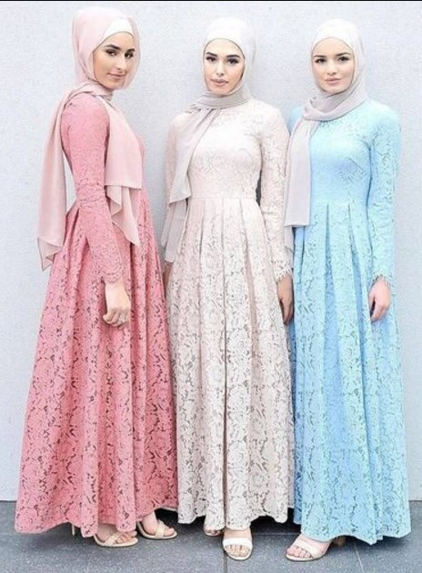 32 Model Gamis Brokat Pesta Kombinasi Polos Modern 2019 Model Baju
