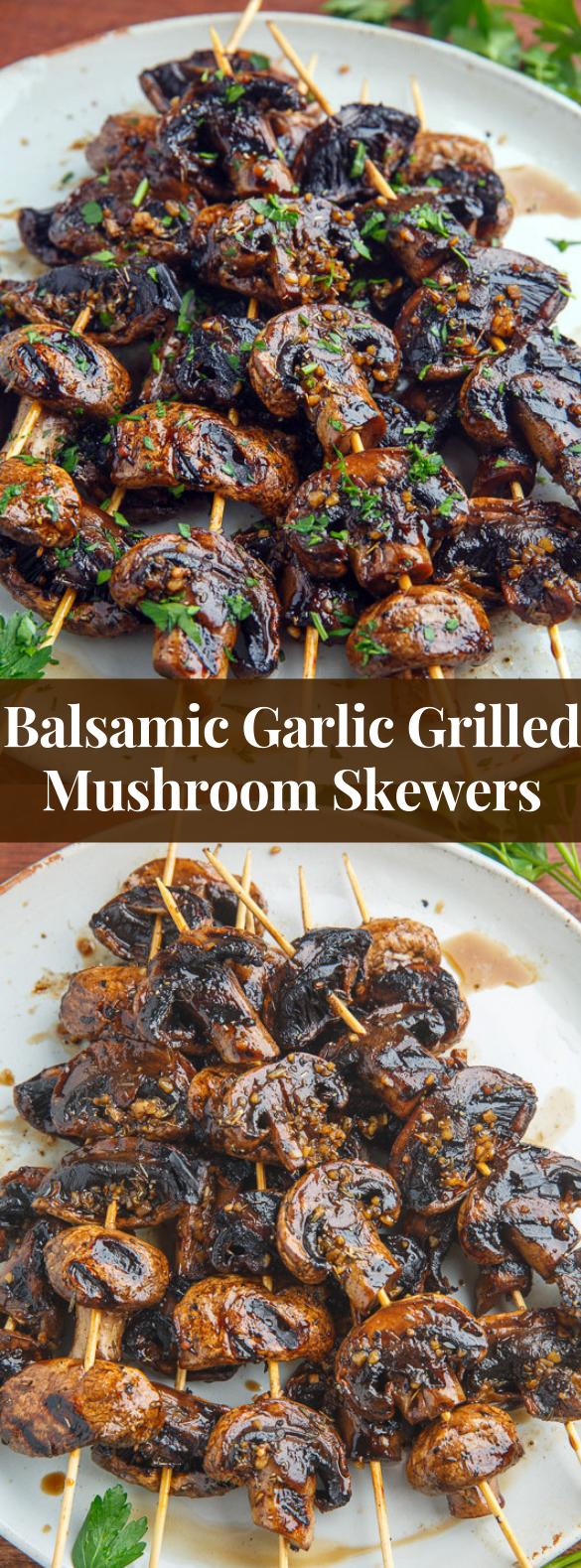 Balsamic Garlic Grilled Mushroom Skewers #vegetrarian #veggies